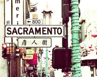 "San Francisco Photography City Street Sign Aqua Teal Green Black California Chinatown Urban Art  ""Sacramento Street"""