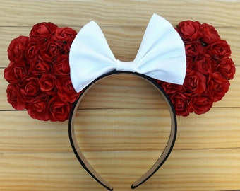 Double-Sided Red Floral Ears, Red Floral Ears, Floral Ears, Minnie Floral Ears, Minnie Ears