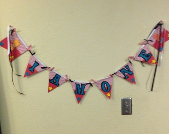Banner, Bunting, I am one,  Carnival Banner, Circus Banner, High Chair Banner, Carnival Garland, Made to Order