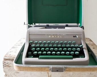 Vintage Typewriter - Tweed Blue Green Gray ROYAL Typewriter Wedding Guestbook Working Type Writer