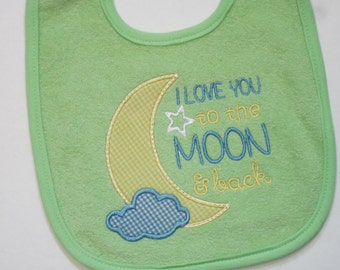 I Love You to the MOON and back! Terry Baby Bib