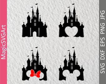 4 Disney Castle SVG, Disney SVG, Princess Castle SVG, Disney Castle Decal, Disney Castle Print, Castle Cut File, Castle Printable