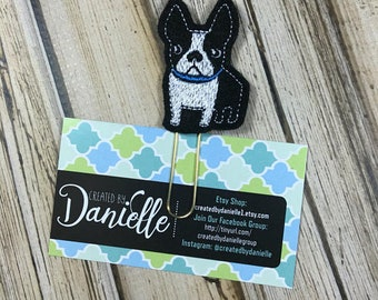 Boston Terrier Gifts, Dog Lover Gift, Boston Terrier Planner Paper Clip, Pet Lover Gift, Dog Gifts for Owners, Dog Bookmark - Black