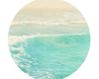 modern beach art, ocean wave photograph, crystal ice blue, aquamarine sea blue, dorm decor, Hermosa beach California photo