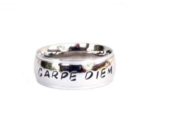 Carpe Diem- Ring Hand stamped  jewelry Inspirational  carpe diem jewelry seize the day