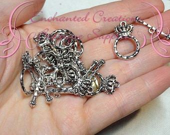Antique Silver Enchanted Crown and Scepter Toggle Clasps