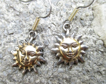 Sun earrings, sunshine earrings, gold and silver, two tone, solstice earrings