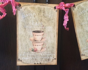 Tea Party banner, Tea Time Banner, with rhinestones, pink crinkled ribbon.