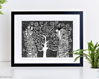 The tree of life, Gustav Klimt, Art Print, Home Decor, Klimt Painting, Classic Art, Wall Decor, Black and White, Zentangle Art, Polka Dots