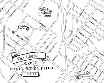 Fox Chase Hand-Drawn Map Philadelphia 8x10