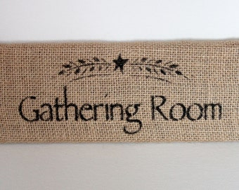 Gathering Room - Wood and Burlap Shelf Sitter