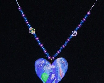 Purple heart pendant with purple lily 111