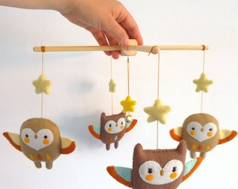 PDF sewing pattern - Totem owls mobile - DIY baby crib mobile, felt owls, felt softies, owl ornaments, easy sewing project