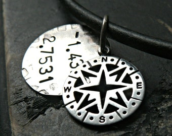 Mens Sterling Silver Compass Necklace