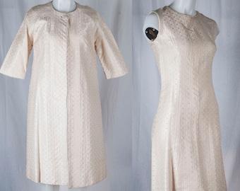 1960s Ivory colored dress and swing coat set. Ivory, sleeveless dress, Mod,