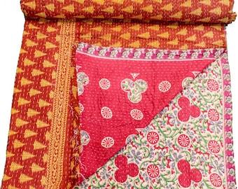 A Vintage Handmade Kantha Quilt, Boho Bedding, Vintage quilt, Kantha Throw, Reversible Quilt VKQ1681