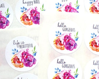 Shop Exclusive - Bright & bold spring florals stickers - hello gorgeous stickers, happy mail  stickers, life is beautiful stickers