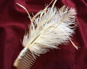 White Fascinator hair comb
