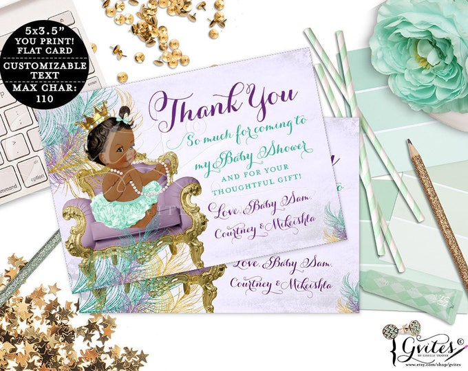 "Purple and Gold Thank You Cards baby shower, customizable ribbons bows diamonds pearls, princess, african american, flat 5x3.5"" 4/Per Sheet"