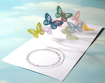 Butterfly Card Spiral Pop Up - Butterfly 3D Card – Handmade Popup Card - Pop Up Birthday card, Anniversary, Best Wishes