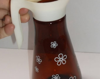 Vintage Thatcher Brown/Amber Glass Syrup Pitcher Retro Daisy/Flowers  (R67)