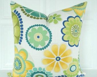Blue Green Pillow Cover - Floral Pillow - Decorative Pillow - 18x18, 20x20, 22x22 - Lumbar Pillow - Navy Blue Teal Pillow - Designer Pillow
