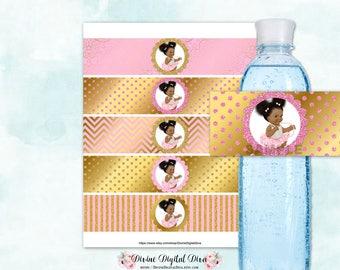 Pink & Gold Water Bottle Labels Tutu Burlap Shirt | African American Princess | Digital Instant Download
