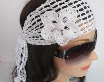 White Lace Headband, Womens Summer Headband, Wide Women Headscarf, White Lace Summer Head Wrap Wedding Lace Headbands, Crochet Lace Headband