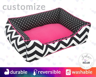 Pink and Gray Cat Bed or Dog Bed with Black Damask | Classy, Girly, Princess - Small, Medium, Large Bolster Pet Bed