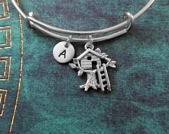 Treehouse Bangle Treehouse Bracelet Treehouse Charm Bracelet Gift Expandable Bangle Stackable Bangle Adjustable Bangle Personalized Jewelry