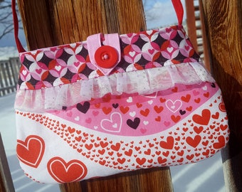 Valentine's Day Toddler Purse, Girl's  Heart Purse, Pink Red Girl's Purse, Heart Purse