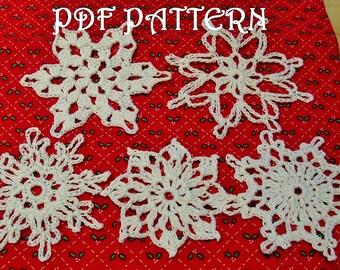 5 Crochet Snowflakes PDF Patterns