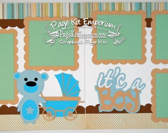 Scrapbook Page Kit Baby It's A Boy 2 page Scrapbook Layout Kit 078