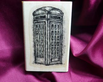Vintage Telephone Booth/ Phone Booth / Dr. Who Tardis / Rubber Stamp