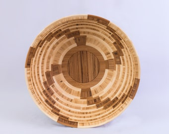"15"" x 5.75"" Segmented Bamboo Bowl ""Twist"""