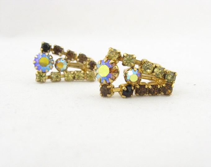 Antique Signed Continental Earrings // AB Rhinestone Drop Earrings // Vintage Costume Jewelry // Aurora Borealis Continental Earrings