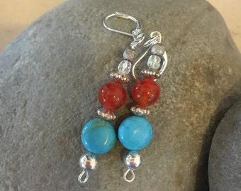 Turquoise & red jasper earrings