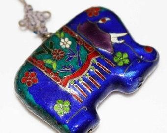 ON SALE Antique Asian ENAMEL Elephant Pendant Necklace-Colorful Cobalt & Red-Estate Jewelry!