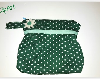 Fabric pouch green and white polka dots