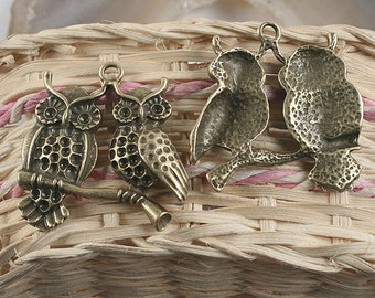 4pcs antiqued bronze couple owls design pendant charm G954