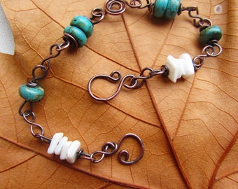 Howlite turquoise and shell copper bracelet