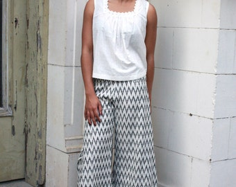 Black and White Palazzo Wide Leg Pants: Handwoven Cotton, Eco Dyes & Fair Trade