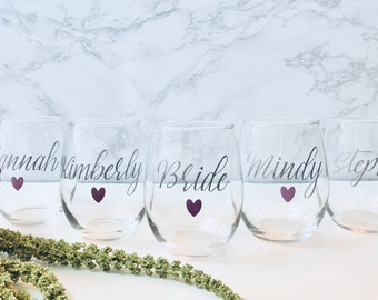 Custom wine glass, Personalized stemless wine glass, Bridesmaid gifts, Bachelorette Party, Birthday wine glasses, custom wine glasses, mom