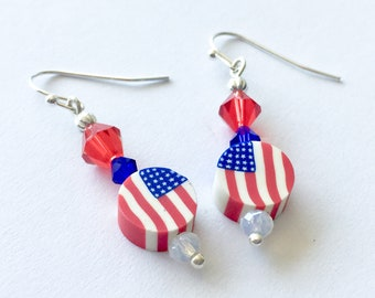 Red white and blue earrings, July 4 earrings, patriotic earrings, polymer clay American flag earrings