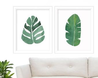 Watercolor Botanical Prints - Print Set of 2 - Tropical Print - Tropical Leave Prints - Extra Large Art Print Set - Prints - Wall Art Print