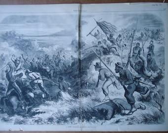 1863 Harpers Weekly - Negro Regiment - American Civil War - Slavery - Soldier - Union Army
