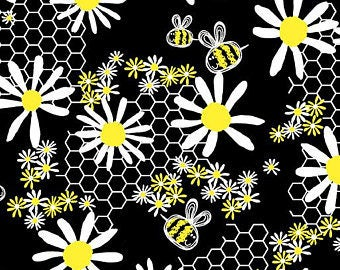Bumble Bumble from Kanvas Studio/Benartex - Full or Half Yard of Daisies, Bees, and Honeycomb