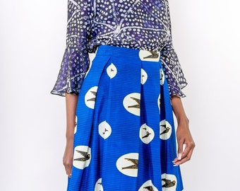 Swallows African Print Pleated Skirt
