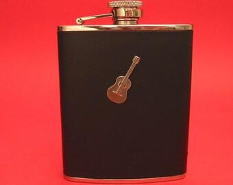 Acoustic Guitar Black Leather 6oz Hip Flask Guitar Gift Guitar Teacher Gift