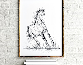 Black Horse Painting, Living Room Wall Art black and white horse print art, Gift for Horse Lover, Bedroom Wall Decor, Horse Animal Painting